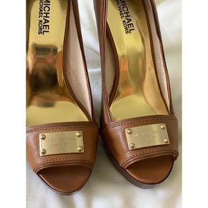 MICHAEL KORS New/Never Worn Brown Peep Toe Heels!
